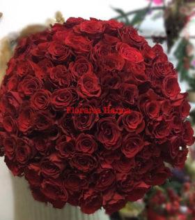 Buchet 101 fire trandafiri, oferit de Floraria Hanca, Cluj-Napoca, Floresti. Floraria care personalizeaza buchete, aranjamente florale,cosuri si cutii cu flori.Comanda online cutii cu trandafiri, trandafiri criogenati si buchete de flori in Cluj, livrare este gratuita.