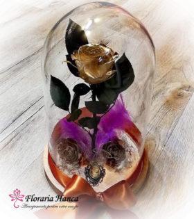 Trandafir criogenat auriu in cupola de sticla, model unicat si nemuritor. Trandafirul criogenat are o durata de viata de 25 ani pastrat in conditii optime.