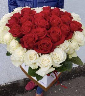 Cutie Aniversare 45 Trandafiri